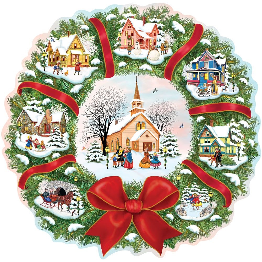 - Christmas Village Wreath 300 Large Piece Jigsaw Puzzles by artist Rosiland Solomon