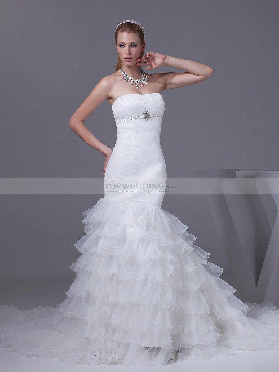 Elegant strapless mermaid organza wedding gown with brooch organza