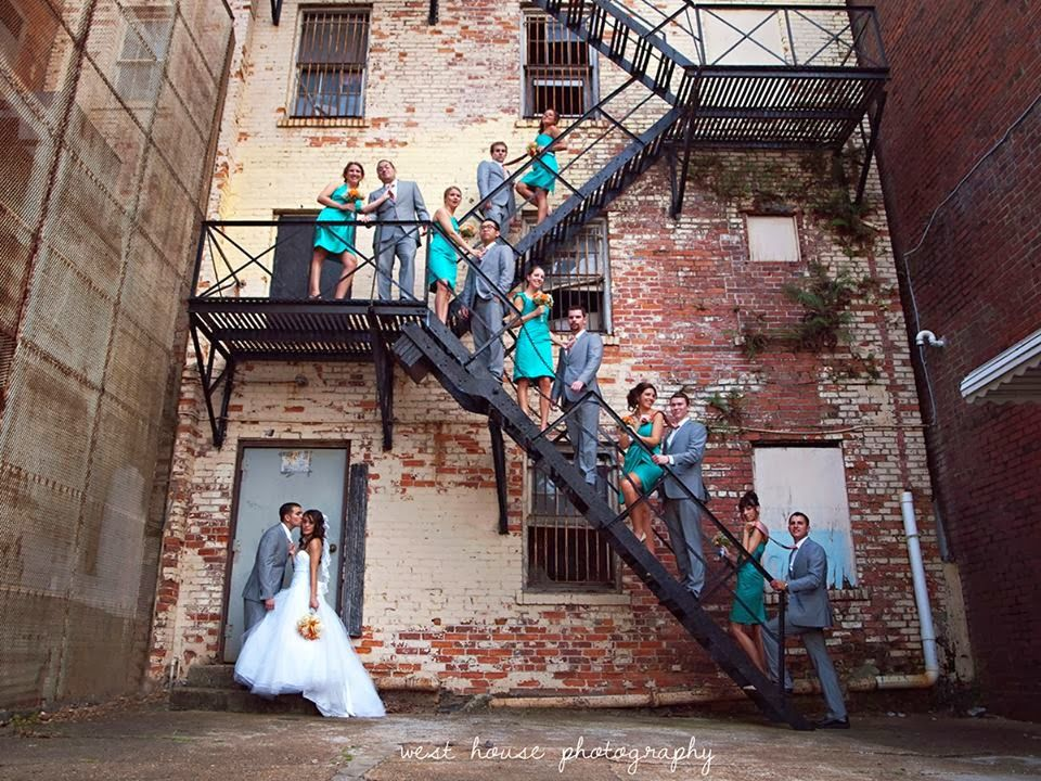 Downtown Jacksonville Library Wedding | Wedding Party | Teal and Grey wedding | Urban Wedding | Wedding Party Poses | Jacksonville, FL Wedding Photographer | West House Photography