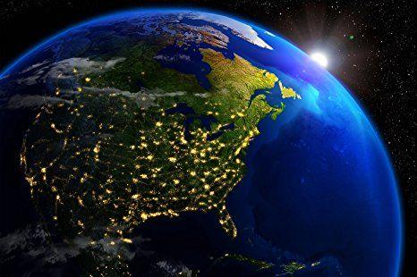 GREAT ART Amerika bei Nacht Ausblick aus dem Weltall Wanddekoration