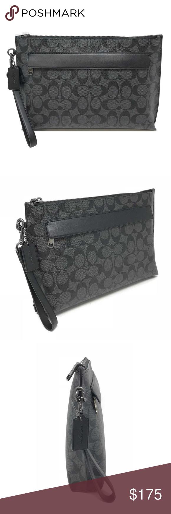 Coach Men S Carry All Pouch Signature Black Bag Bags Black Bag Coach Men