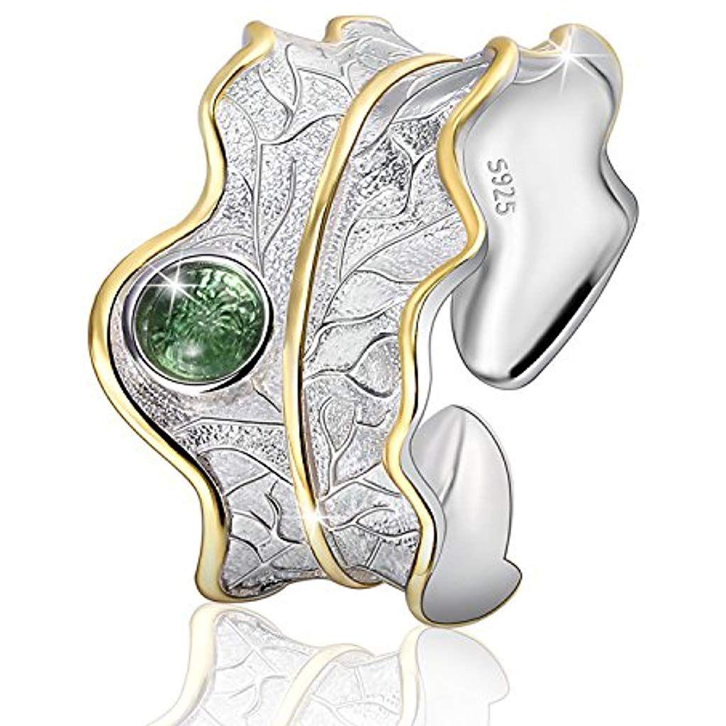 JIANGYUYAN S925 Sterling Silber Damen Ring Bl/ätter Offen Ring Handgemachte Schmuck f/ür Frauen und M/ädchen.