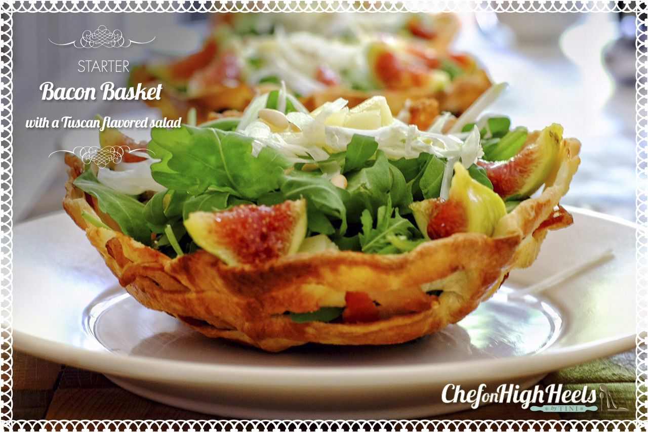 Bacon basket with a Tuscan flavored salad #cooking #salad #starter
