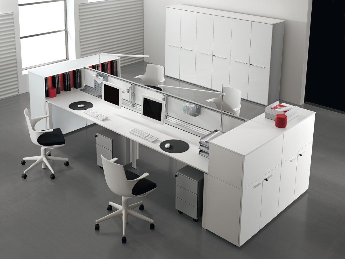 Modern Office Interior Design With Double Entity Desk With Storage By  Antonio Morello