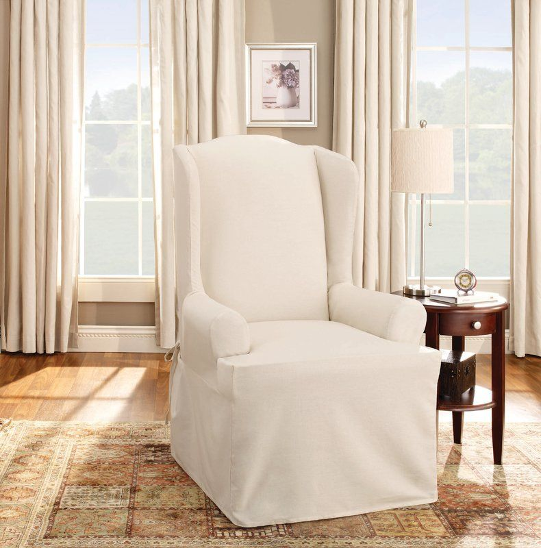 Cotton duck tcushion wingback slipcover slipcovers for