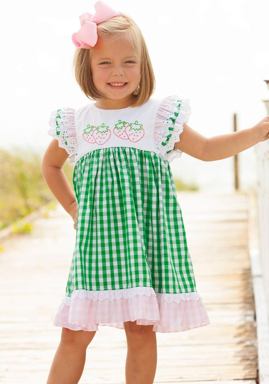 e0cc59c6ec09 strawberry dress embroidered ruffles green pink check | Baby Girl ...