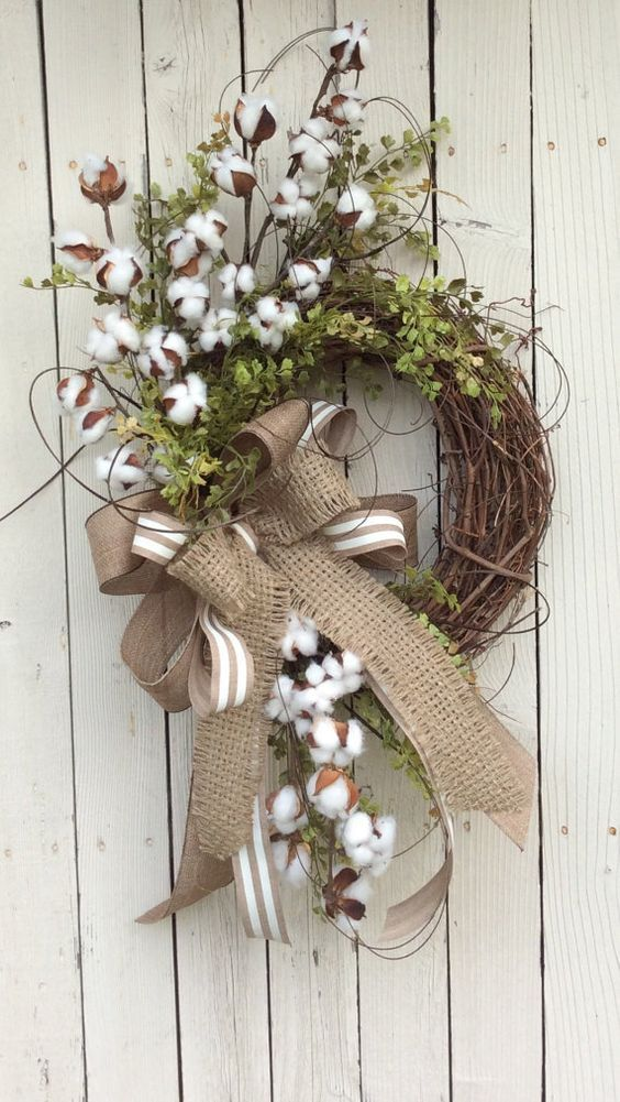 Decorating With Cotton Branches Spring Wreath Wreaths Cotton Decor