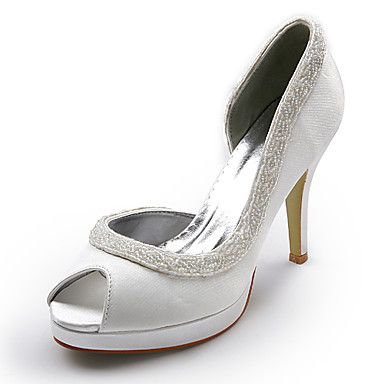 Top Quality Satin Upper  Stiletto Heel Peep Toe With Sequin Wedding Bridal Shoes.More Colors Available – USD $ 60.89