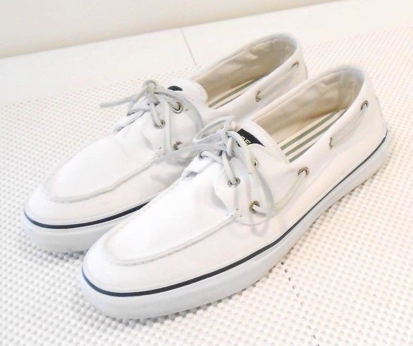 Sperry Top Sider Mens White Canvas Oxford Deck Boat Shoe 12 M