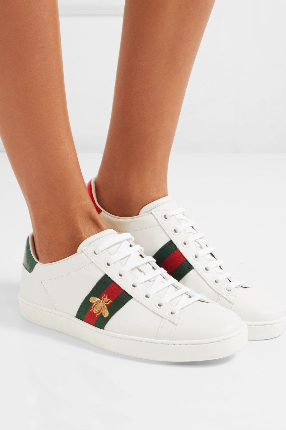 Ace Watersnake-trimmed Embroidered Leather Sneakers Gucci 37mnVmkH