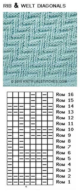 Rib and Welt Diagonals (Pattern 2) | Knitting Ideas | Pinterest ...