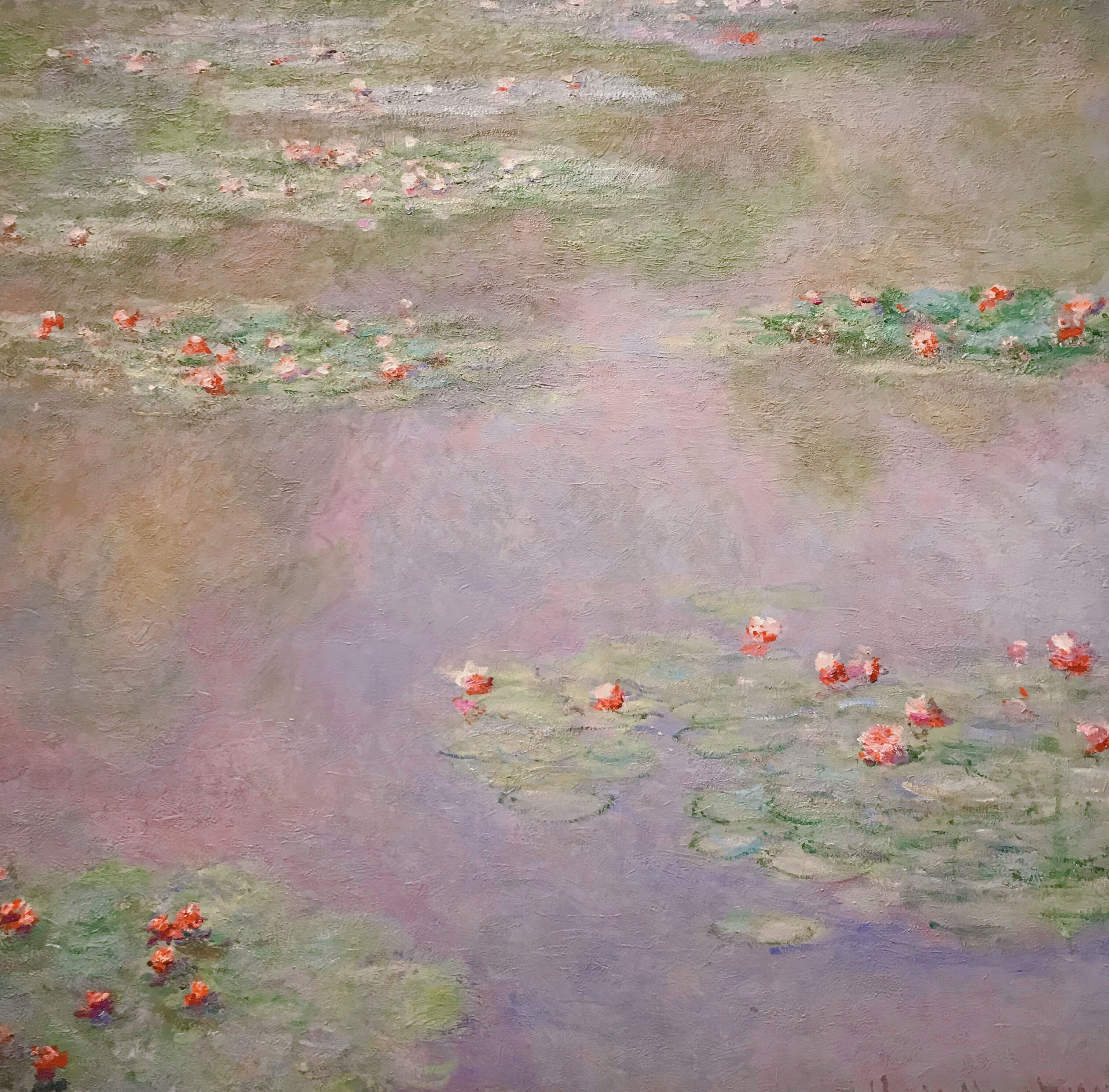WATER GARDEN WHITE /& BLUE FLOWERS IMPRESSIONIST PAINTING ART REAL CANVAS PRINT