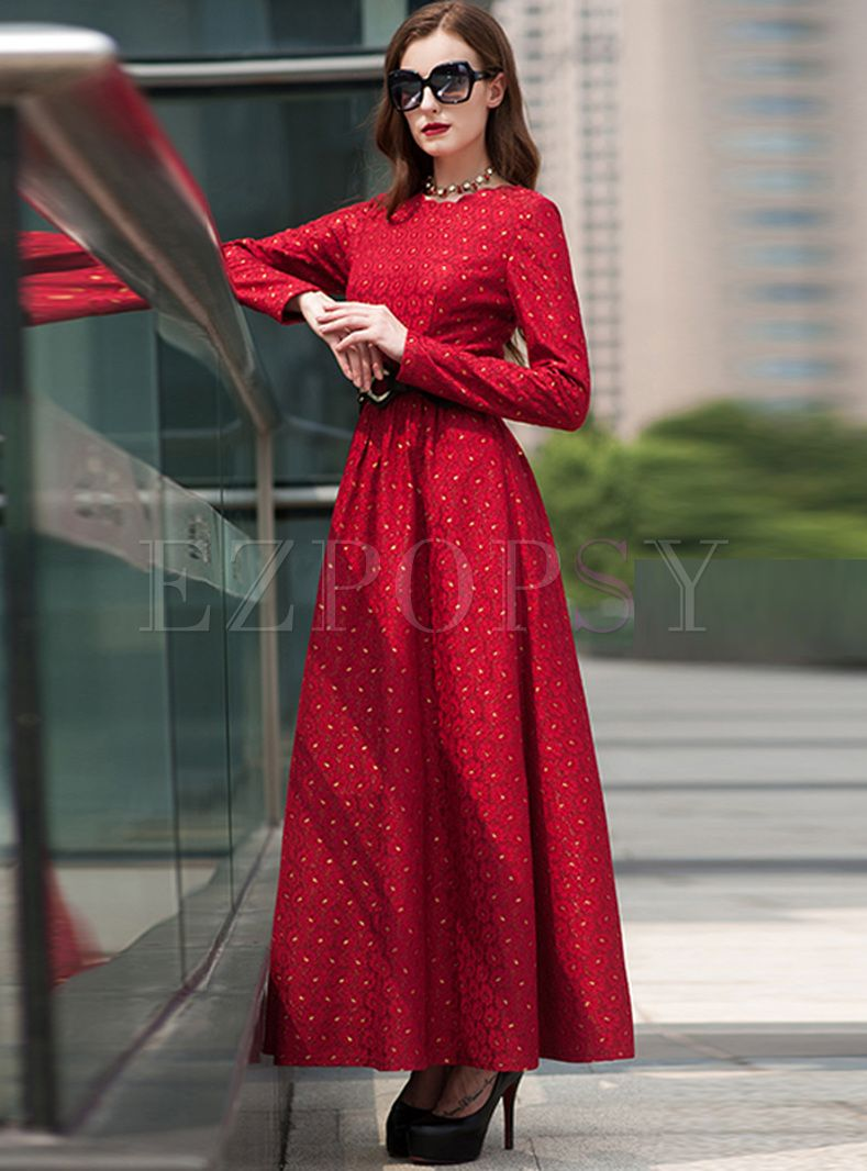 Vintage Red Waist Embroidery Maxi Dress Dresses Maxi Dress Vintage Maxi Dress [ 1066 x 789 Pixel ]