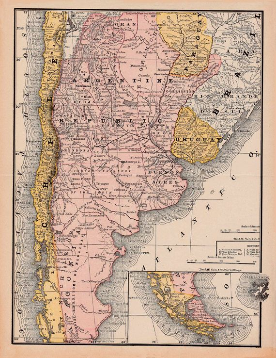 map of Argentina from an 1890 encyclopedia, unique gift and home - new world map software download for mobile