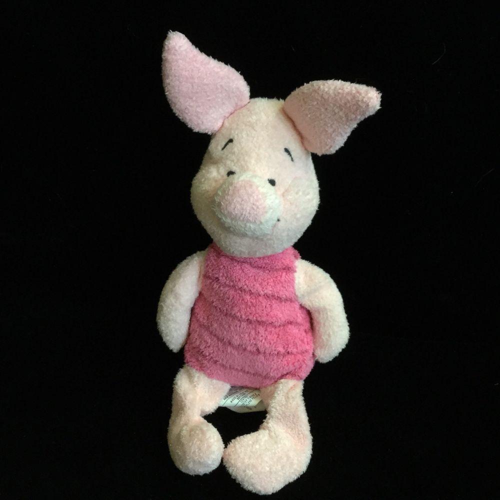 "Disney Store Piglet Huggy Bean Bag Pink Plush Pig 10""  Soft Toy Winnie The Pooh"
