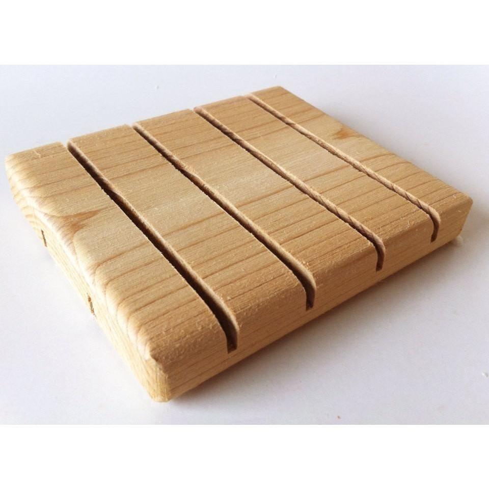 wooden cedar soap deck, soap dish, drying board