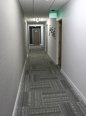carpet tile used in a modern commercial building corridor