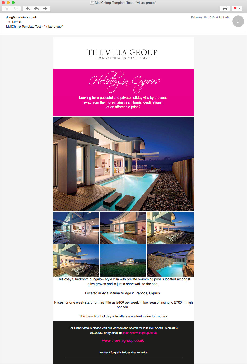 Villas Group email template / campaign design | MailNinja HTML Email on 2015 new home business opportunities, 2015 new exterior paint colors, 2014 new home plans,