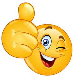 Thumb Up Winking Emoticon Vector Image On In 2020 Smiley Emoji