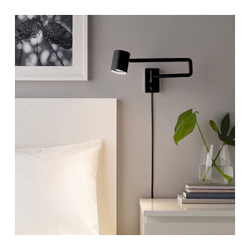 Nymane Wall Lamp With Swing Arm Anthracite Ikea Wall Lamp