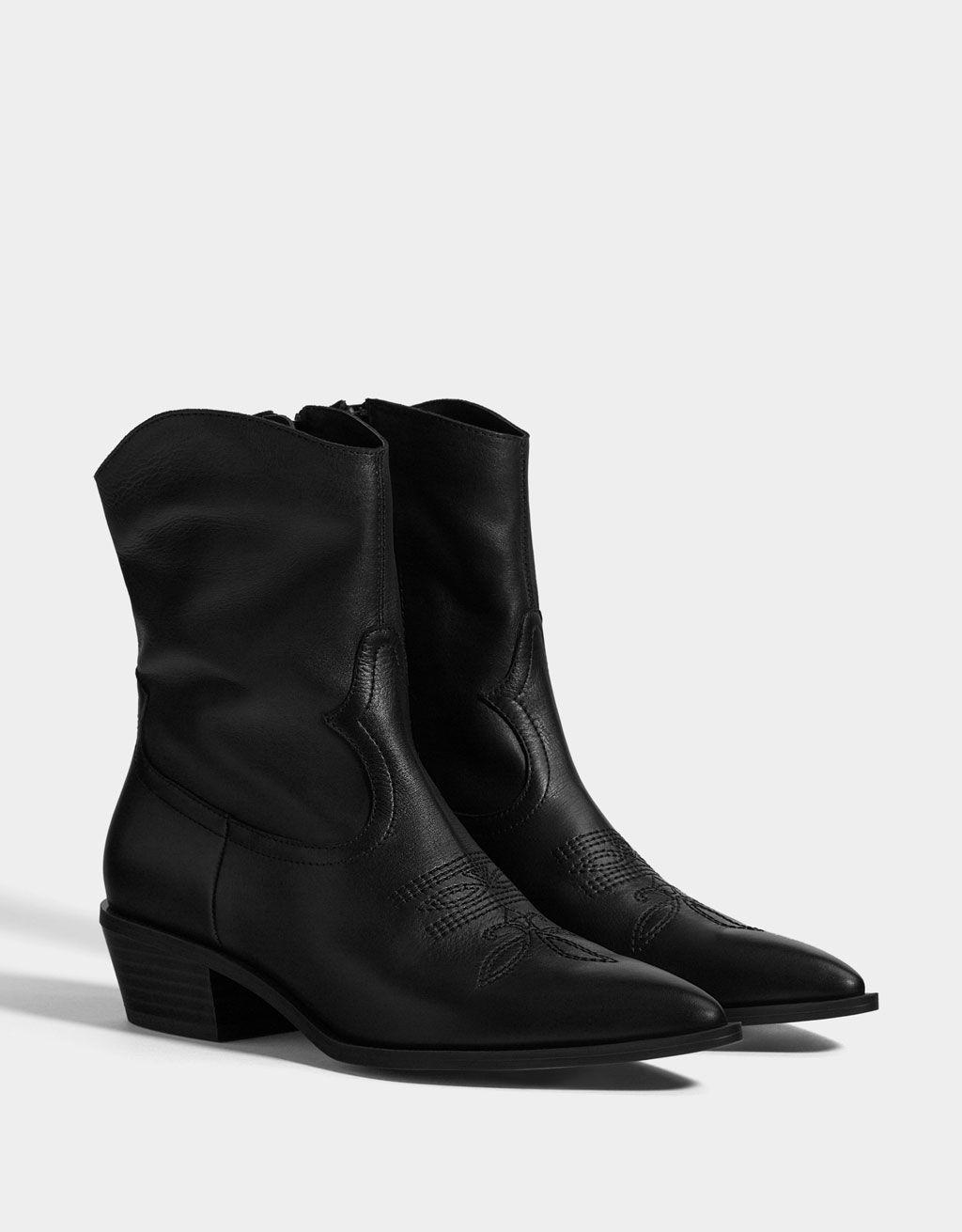 a888aa70c5b Botines cowboy PIEL - null - Bershka España | wish list | Boots ...