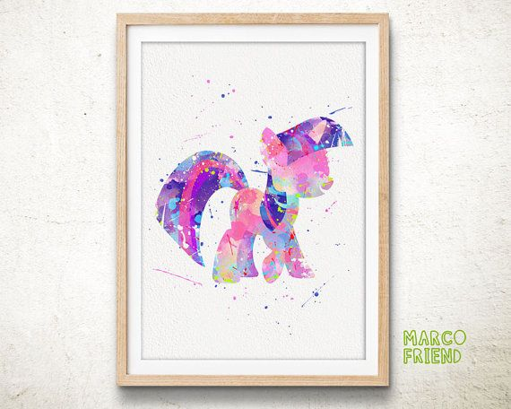 Little Pony Twilight Sparkle - Watercolor Art Print, Room Decor, My ...