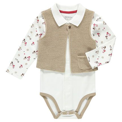 New collection aw16 ! --> Body manches longues imprimées avec gilet sans manches en maille fantaisie  Main #bébé #baby #newarrivals #shopnow #style