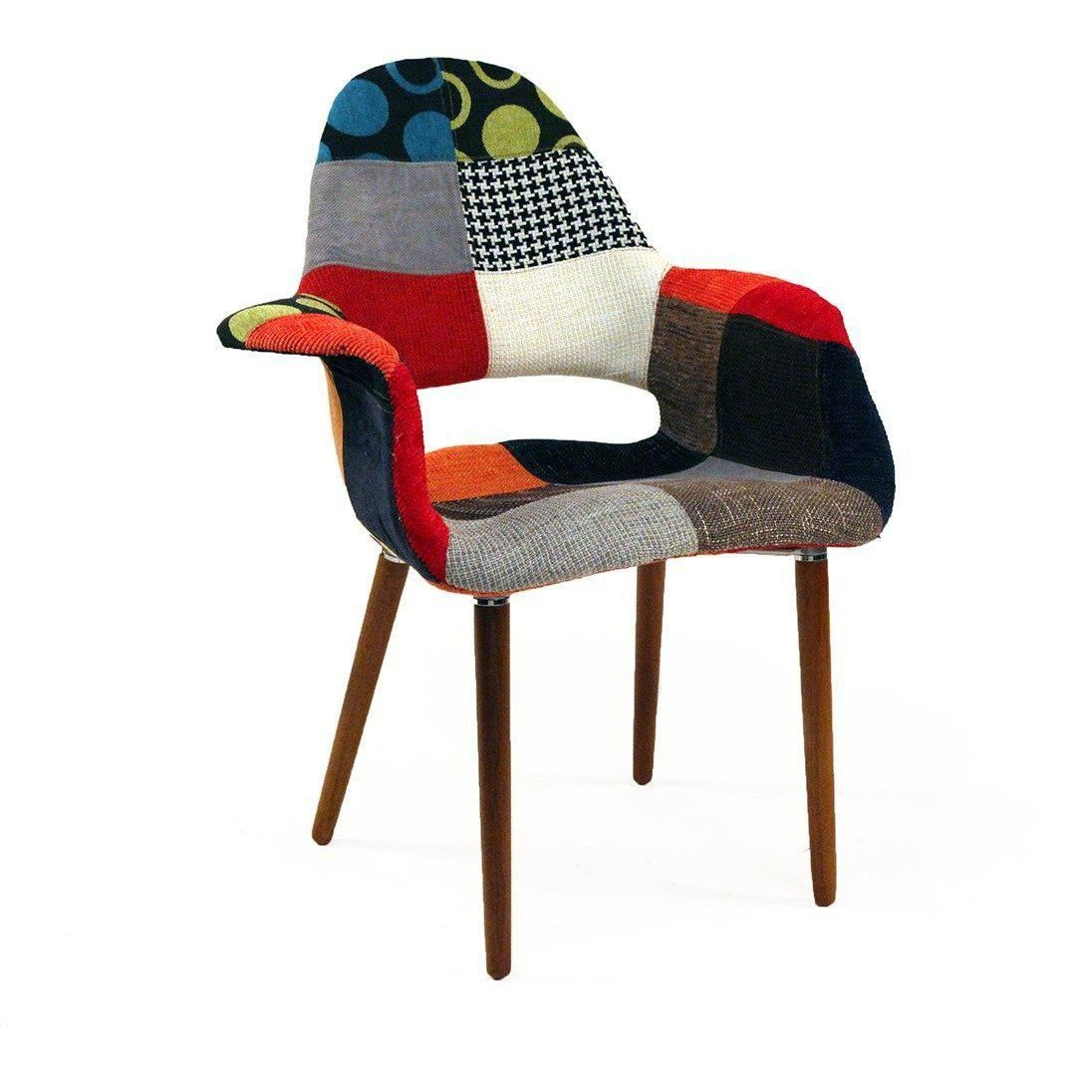 Mid century modern organic chair patchwork inspired by charles and ray e and eero saarinen france son