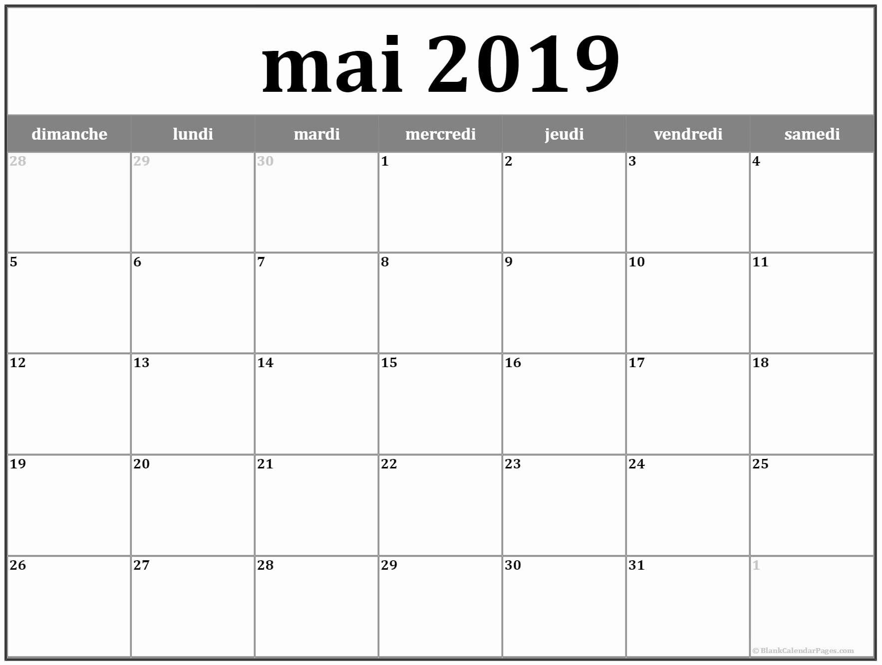 Calendrier Mai2019.Calendrier Mai 2019 A Imprimer Mai Mai2019