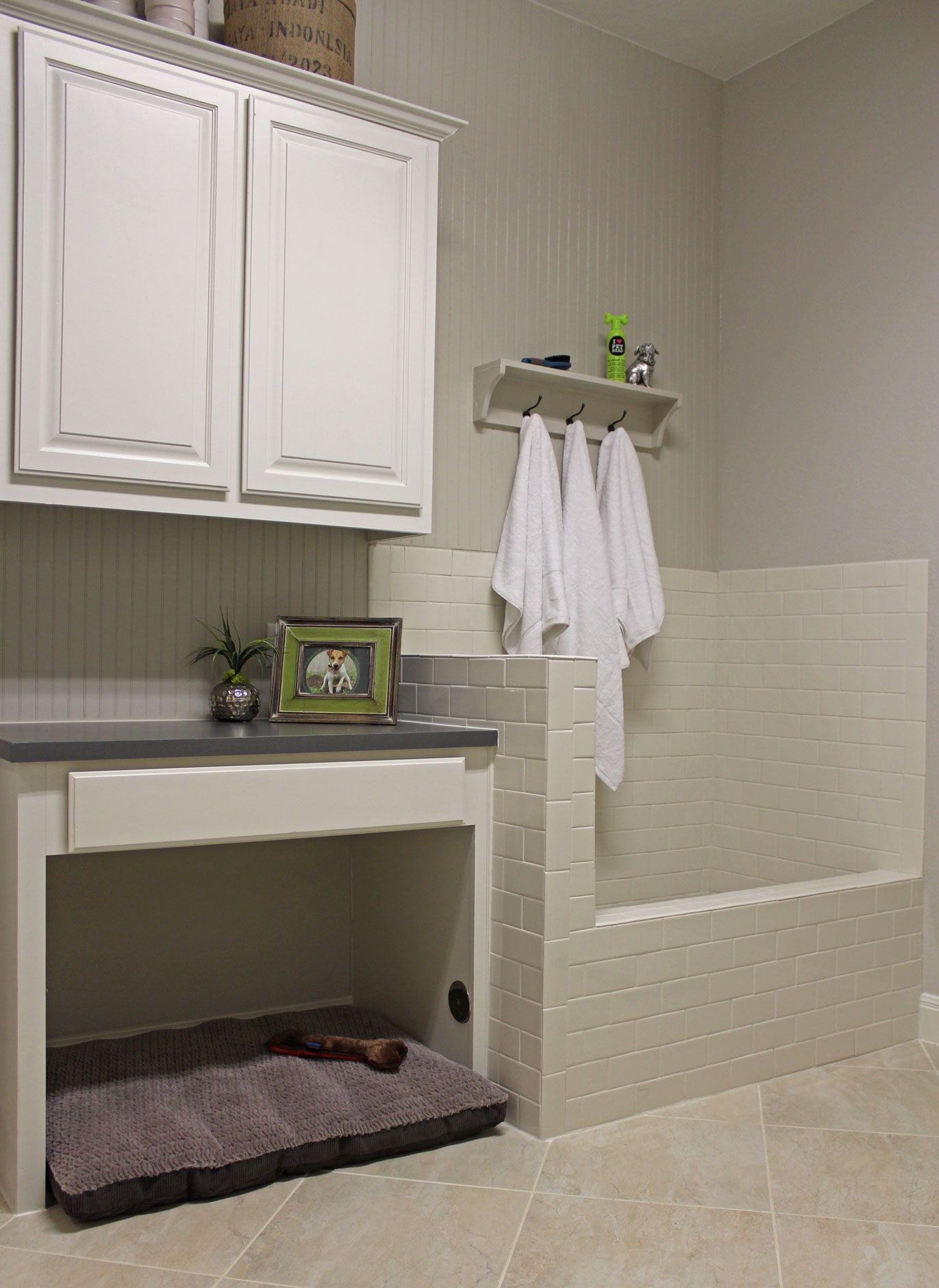 Exact design alex wants for the drop station desk w a pull our laundry room with built in dog shower and space for dog bed with raised panel cabinet doors by taylorcraft cabinet door company in paint grade material solutioingenieria Images