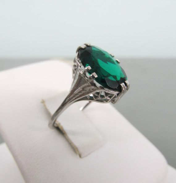 emerald engagement ring art deco ring 10k white gold ring vintage emerald ring antique wedding ring - Emerald Wedding Rings
