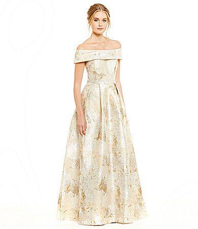 b777b12abc Calvin Klein OfftheShoulder Metallic Jacquard Gown  Dillards