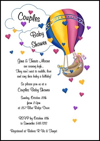Ensure your coed baby shower invitations with hearts and hot air ensure your coed baby shower invitations with hearts and hot air balloon include the necessary details filmwisefo Choice Image