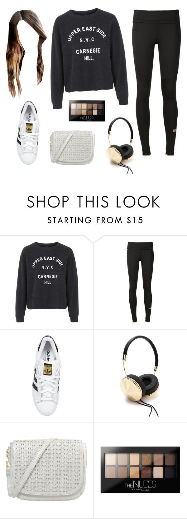"""""""Sporty Casual :)"""" by sophiesayshi ❤ liked on Polyvore featuring Topshop, adidas, adidas Originals, Frends and Maybelline"""