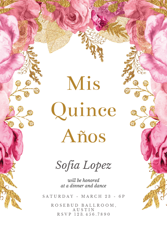 Pink And Gold Roses Quinceanera Invitation Template Free Greetings Island Pink And Gold Invitations Gold Invitations Birthday Birthday Invitation Templates