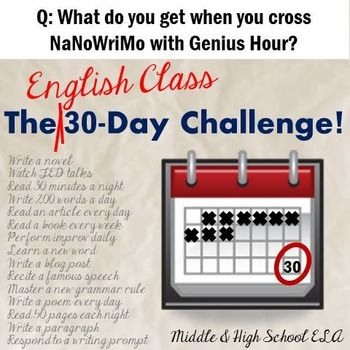 The 30 Day Challenge Differentiated Project For English Classes 30 Day Challenge 30 Day Writing Teaching Middle School English