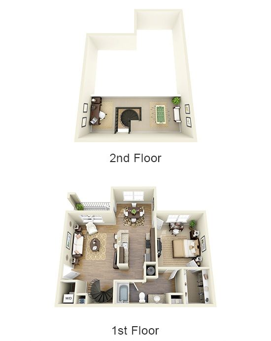 Small 2 Bed 1bath With Loft Floor Plans | BEDROOM 1 BATH With LOFT
