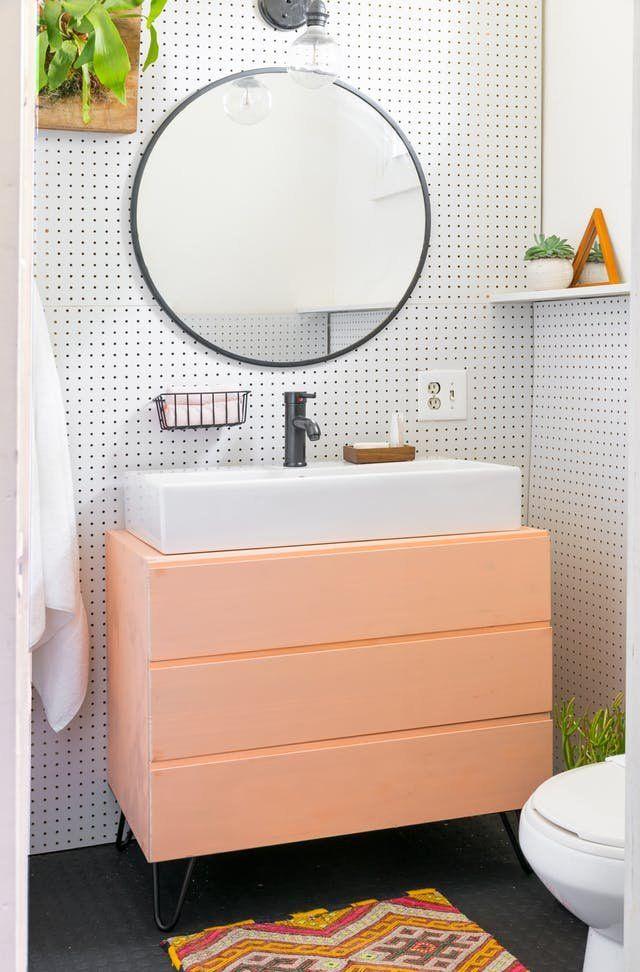 The Big Reveal Our 500 Rental Bathroom Makeover Rental Bathroom Simple Bathroom Bathroom Furniture
