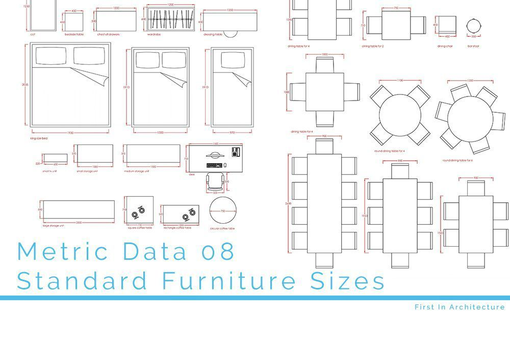 Metric Data 08 Standard Furniture Sizes In 2020 Standard Furniture Metric Furniture Design Sketches