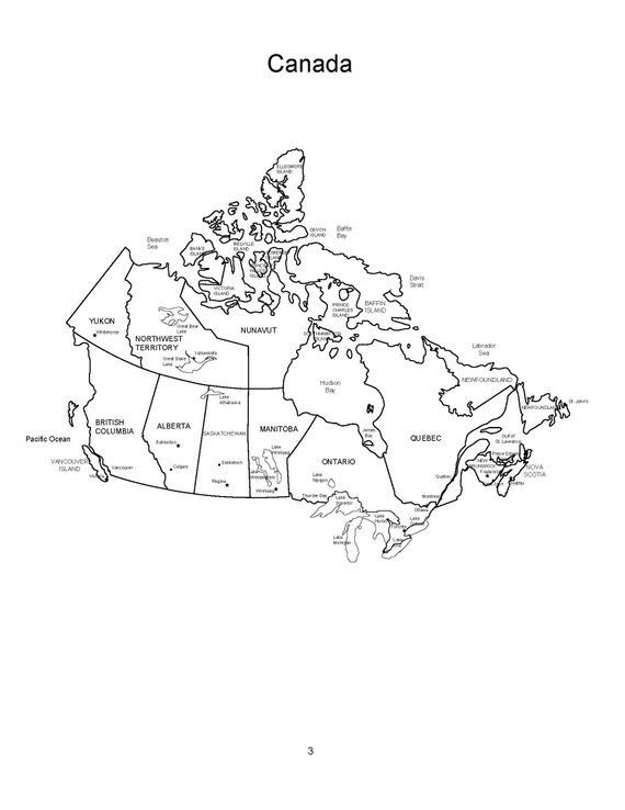 Canada And The Canadian Provinces Pdf Map Coloring Book Blank