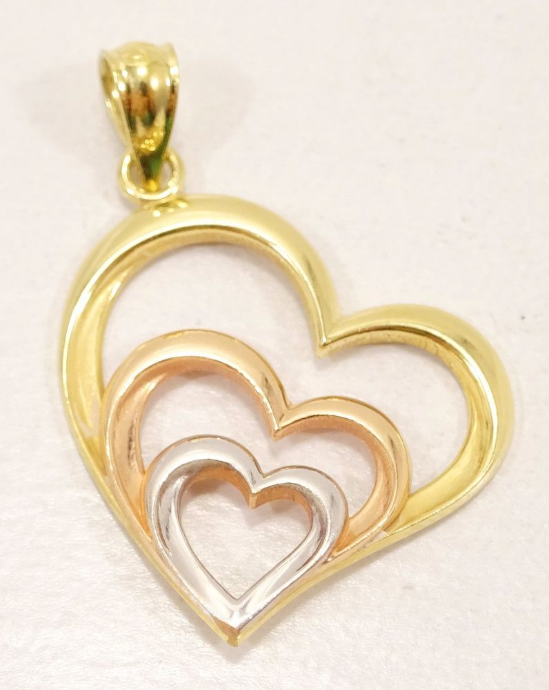 10k solid gold heart pendant multi toned gold simple classy design 10k solid gold heart pendant multi toned gold simple classy design free ship aloadofball Images