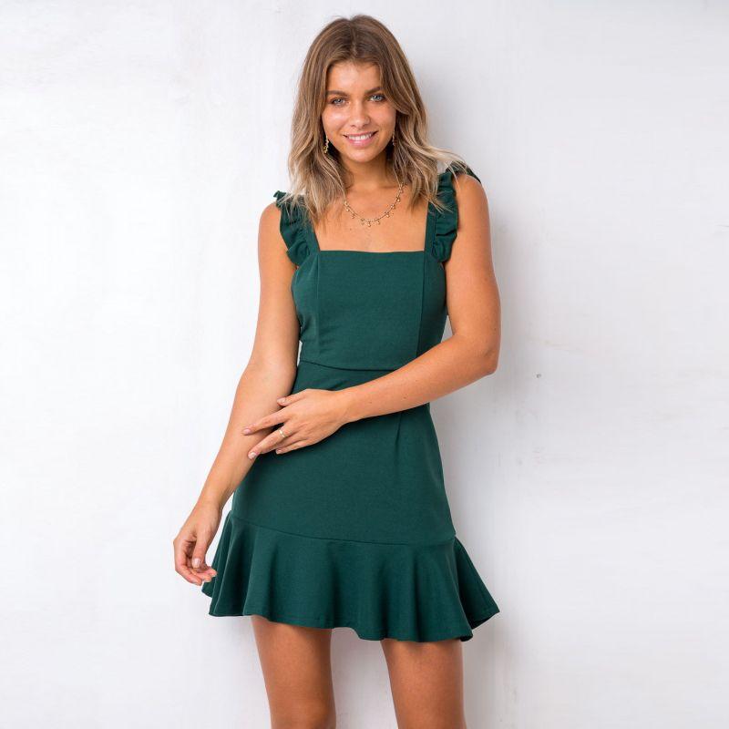 Women Summer Short Mini Dress Slash Neck Sleeveless Ruffles Slim Mermaid Dress Backless Party Dresses #shortbacklessdress