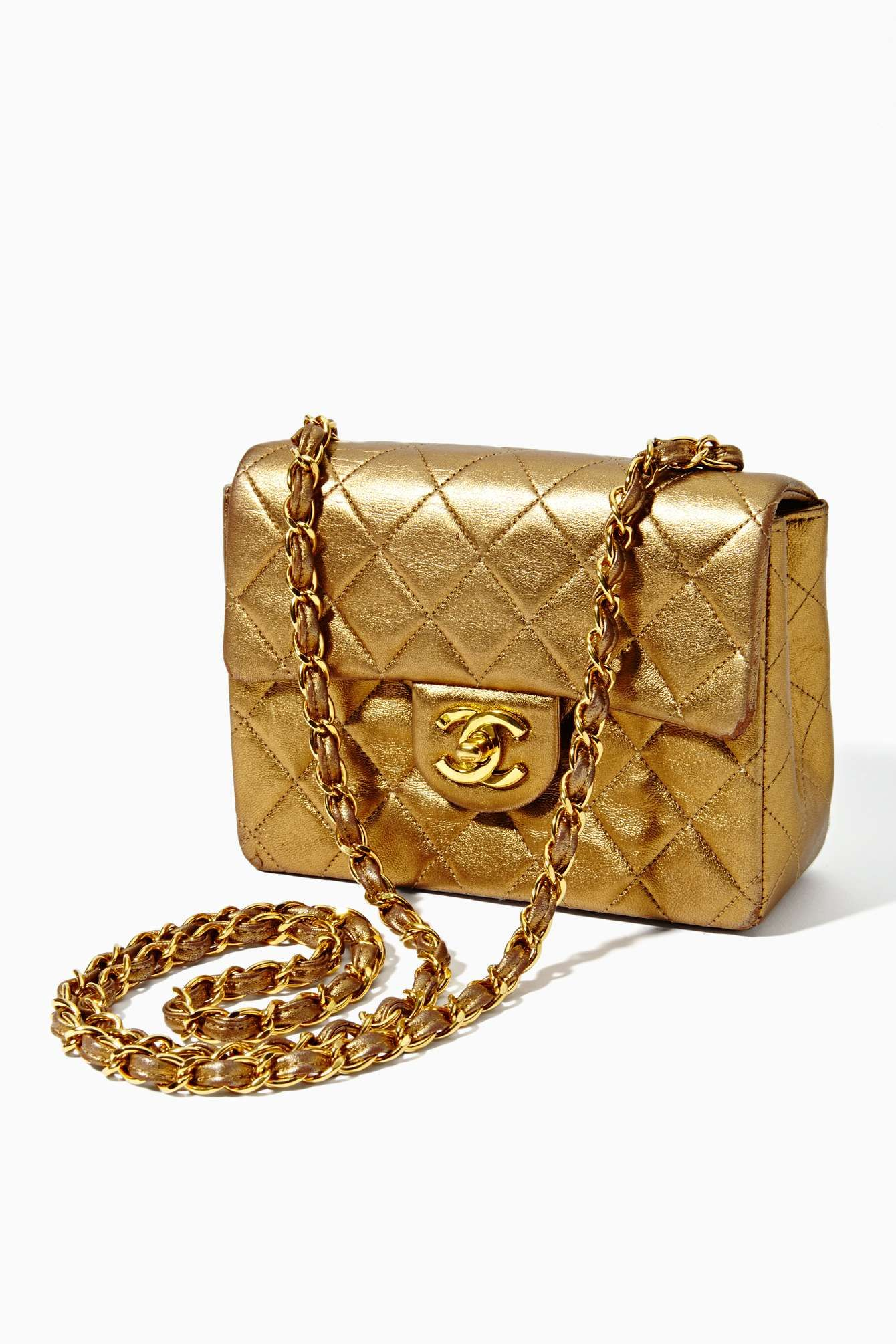 Vintage Chanel Quilted Gold Leather Handbag In Lookbooks