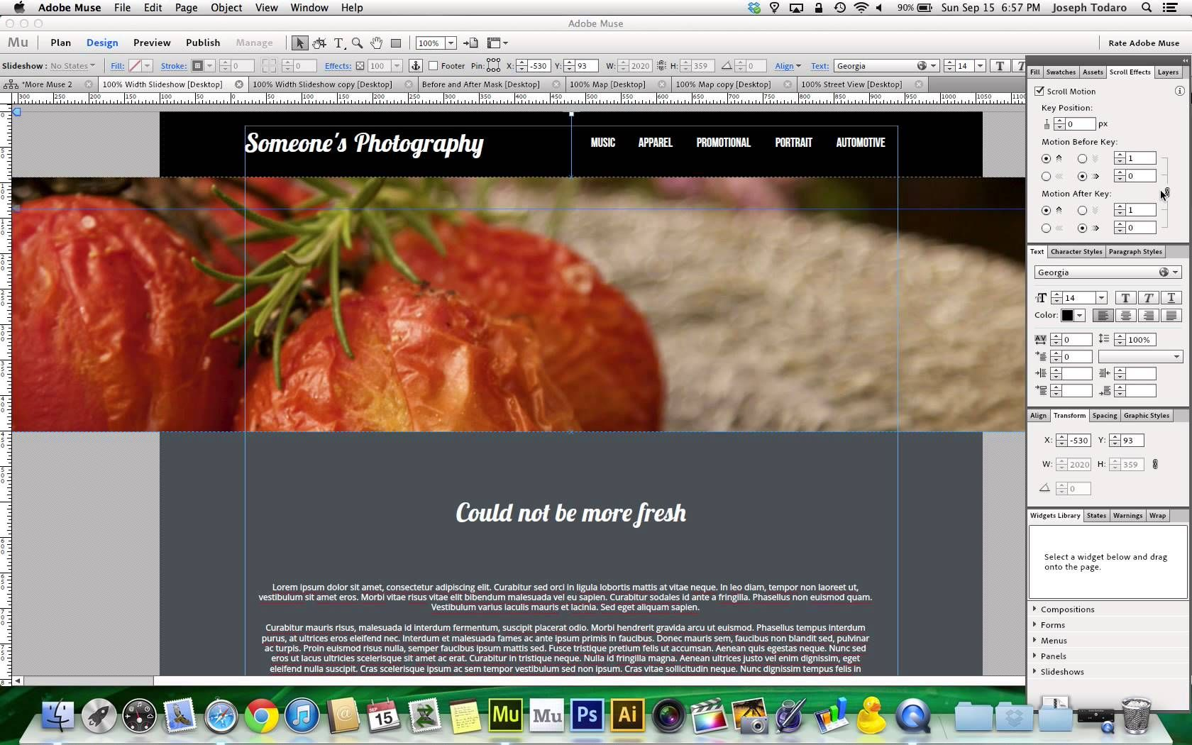 Adobe Muse Cc Trick 100 Page Width Slideshow Adobe Muse Muse Web Design Tutorials