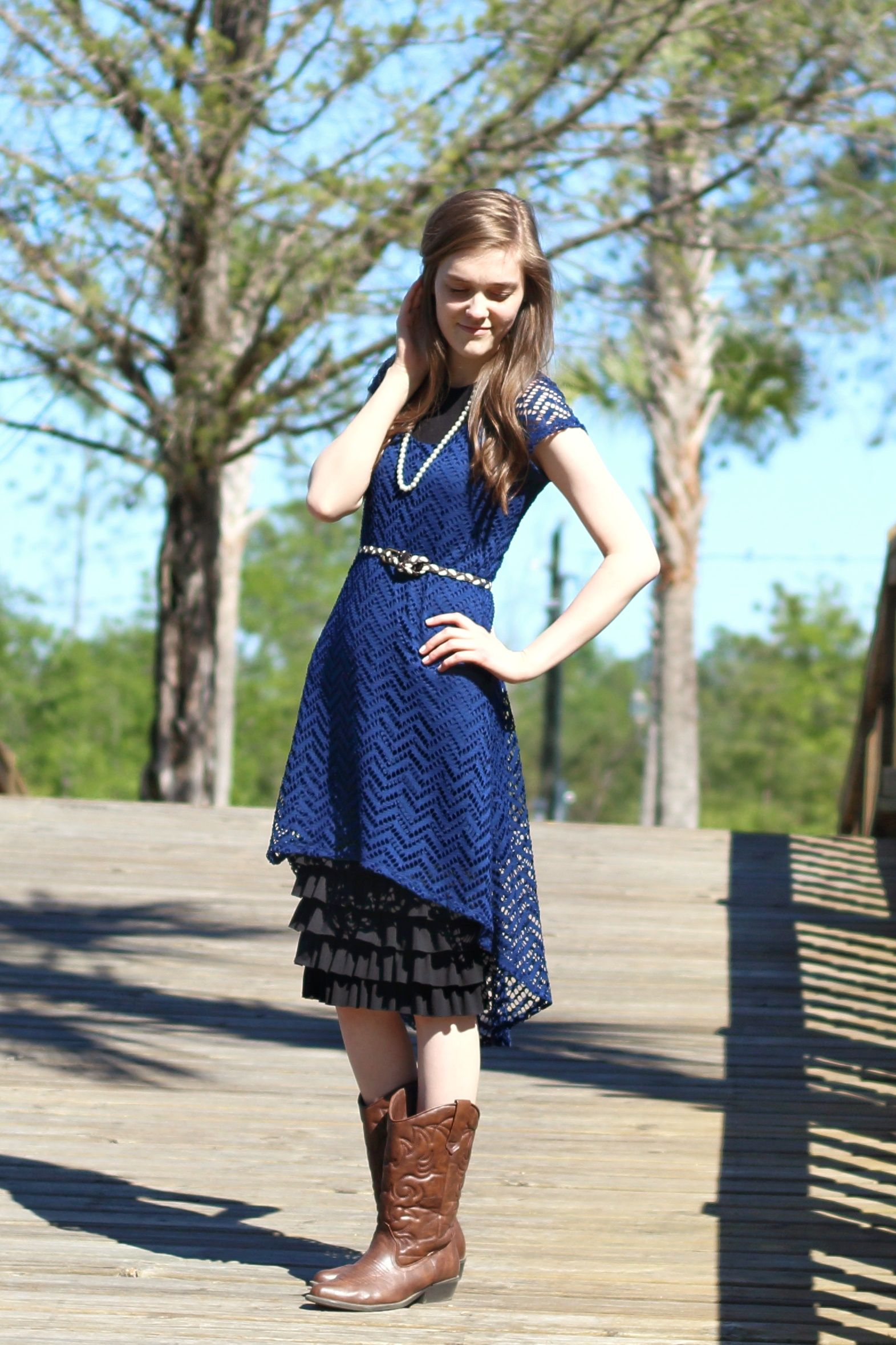 Modest Dressy Outfit Idea For Church Navy Lace Dress Black Skirt Extender Cowboy Boots Spring Summer Style Navy Lace Dress Dressy Outfits Lace Dress Black [ 2357 x 1571 Pixel ]