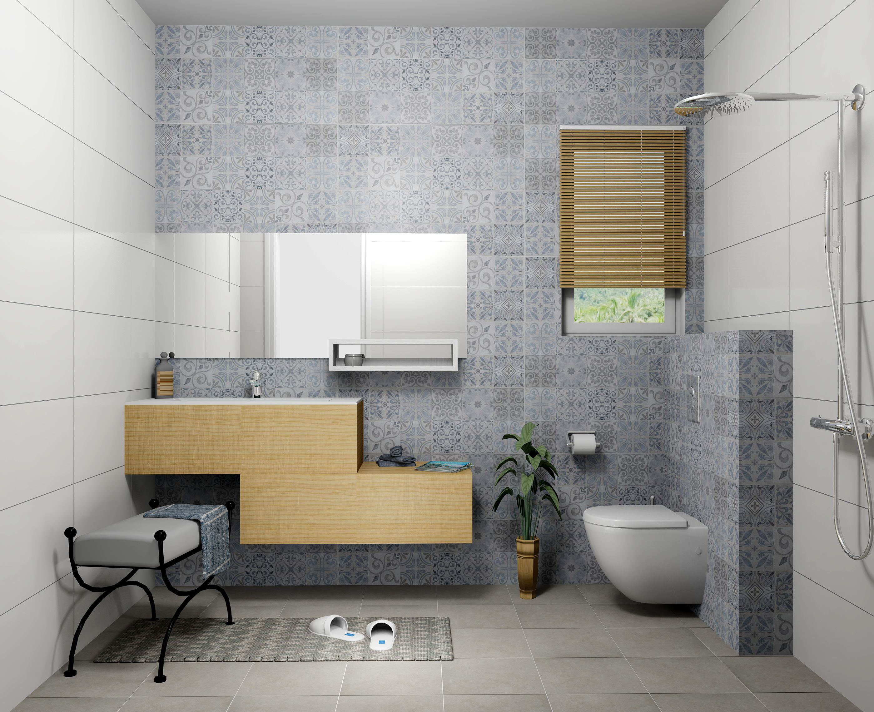 porcelanosa antique blue + concrete silver tiles. simulated