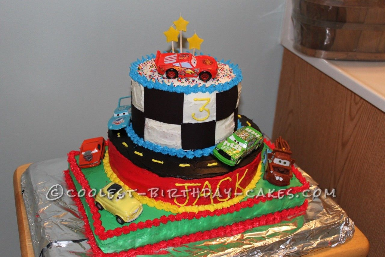 Disney Cars Birthday Cake: Cool Homemade 3-Tier Disney Cars Cake