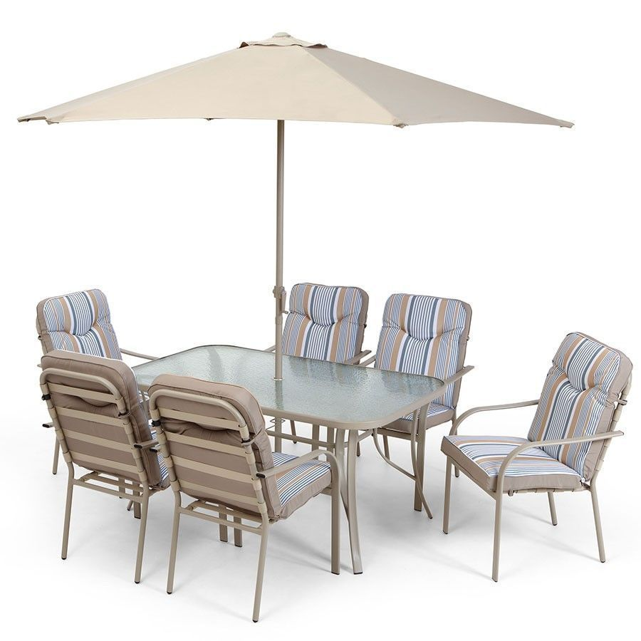 6 Seater Outdoor Dining Set Padded Chair Glass Table Parasol Garden Furniture Patio Furniture Umbrella Patio Chairs Metal Outdoor Table