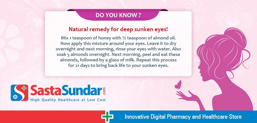 Natural remedy for deep sunken eyes!  Mix 1 teaspoon of honey with ½ teaspoon of almond oil. Now apply this mixture around your eyes. Leave it to dry overnight and next morning, rinse your eyes with water. Also soak 5 almonds overnight. Next morning, peel and eat these almonds, followed by a glass of milk. Repeat this process for 21 days to bring back life to your sunken eyes.