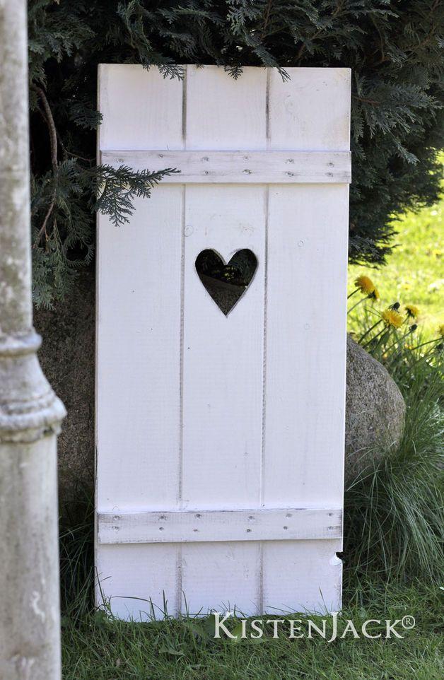 Fensterladen Herz Holz Deko Garten Rankhilfe weiß